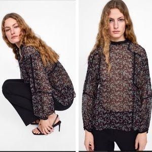 Zara Black Floral High Neck Long Sleeve Blouse M